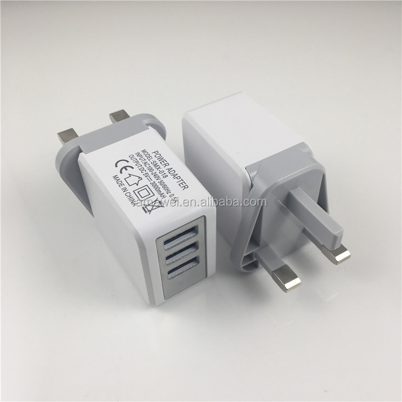 UK Plug 3 Port USB Power Adapter Wall Home Travel Charger for iPhone
