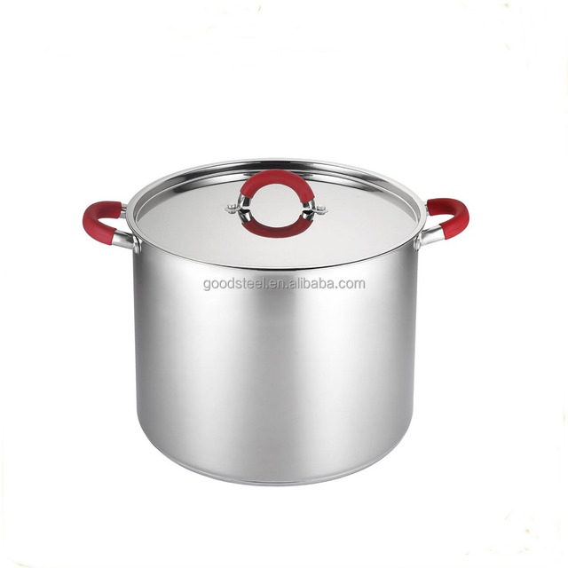 MSF-3997 Stainless steel stock pot high soup stock pot 30*24cm casserole with heat resistant red silicon handles
