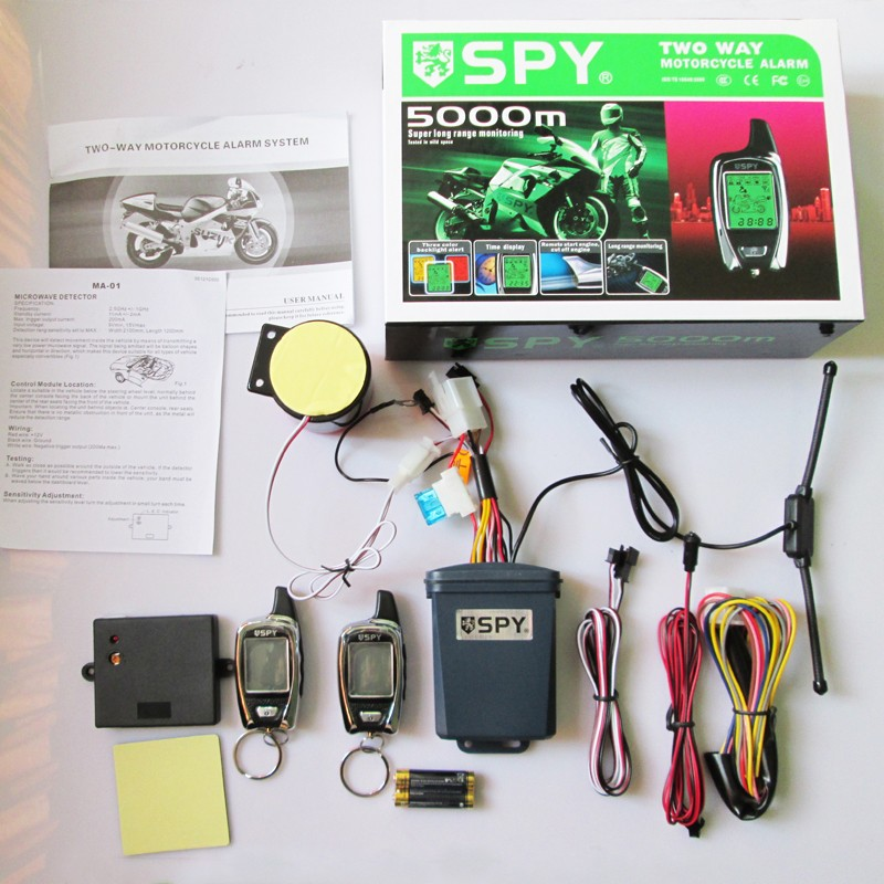 2 Way SPY LM209 5000m Motorcycle Alarm with Remote Start, shock warning, microwave detecting functions