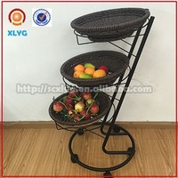 3 tier iron vegetable & fruit basket holder in supermarket