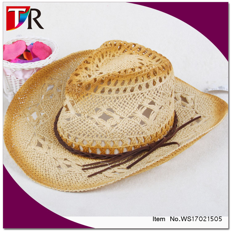 factory wholesale custom logo rollable cowboy straw hat for men
