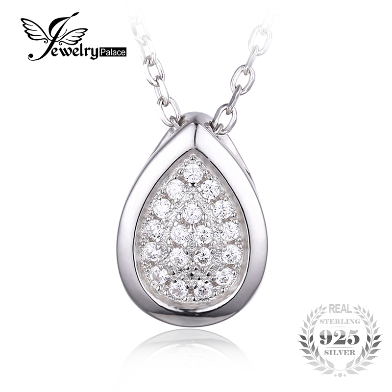 JewelryPalace 925 Sterling Silver Jewelry Teardrop Chain Cubic Zirconia Pendant Necklace Engagement Gift for Women