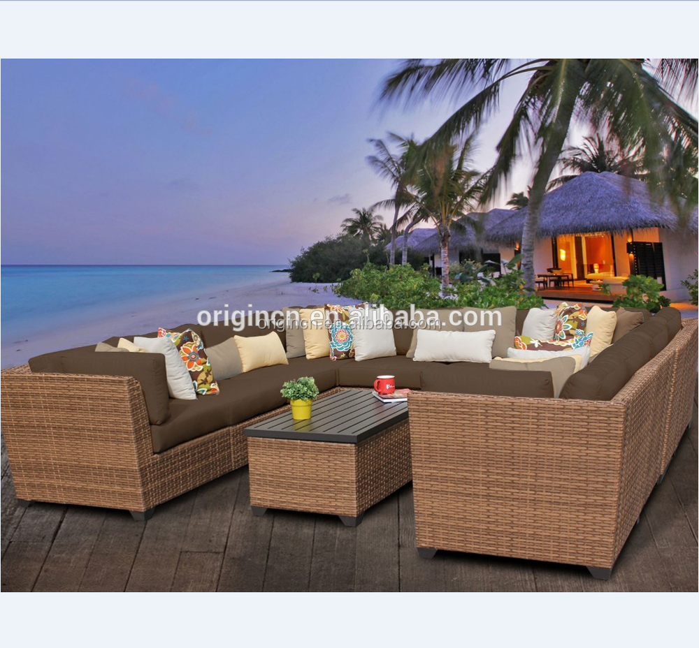 Resort hotel home cane wicker rattan conversation sectional garden furniture outdoor sofa set