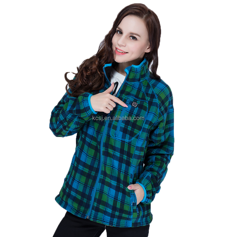 7.4V 5200mah Li-ion Battery Powered Grid Women Warm Heated Jacket, Self-heating Jacket with Rechargeable Battery