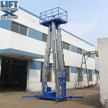 12m four mast aluminum lift / aluminum aerial work platform / traction with four wheels lifter