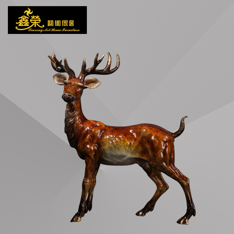 Spotted deer bronze sculpture