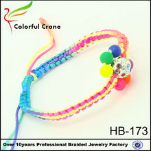 2015 new model artificial fake rhinestone diamond ball with high acrylic beads woven colorful rope bracelet wholesale,pulseras