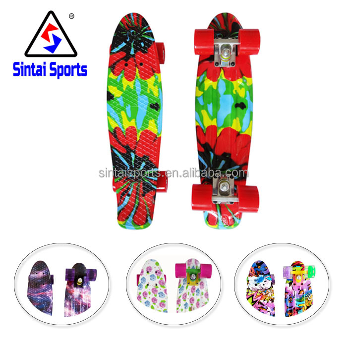 pp deck printed trucks skateboard mini cruiser plastic fish skate longboard