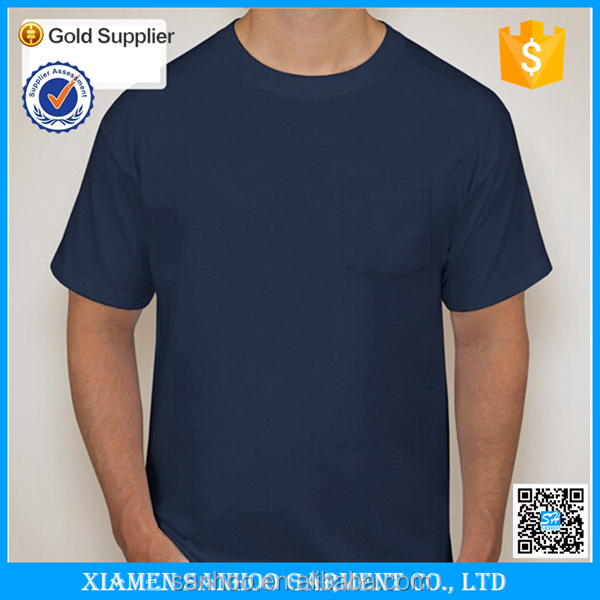 Wholesale Supplier Cheap Short Sleeve Tshirt Customized Made Blank Pocket T Shirt