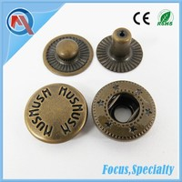 Hat Accessories Engraved Brass Snap Button