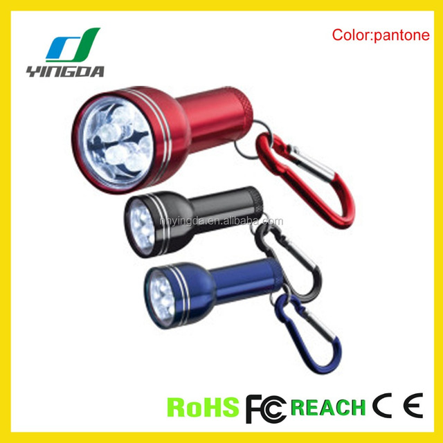 LR44 factory price 6LED aluminum mini flashlight torch with carabiner