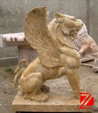 Antique Travertine Fly Lion Statue For Gateway Decoration