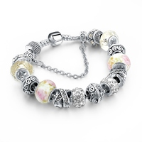 Crystal flower design ball bracelet,charm bracelet,murano glass bead bracelet with heart