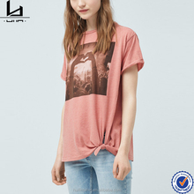 New fashion knot hem cuffed short sleeve ladies t-shirt embossing print design