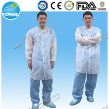 Eco-friendly Disposable safety protection non woven visitor coat/smocks with front snaps