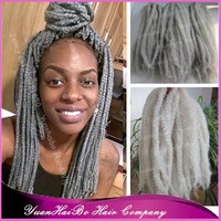 "STOCK! 6pcs/lot 20"" fold silver grey cheap synthetic kinky twists marley braid hair for black women"