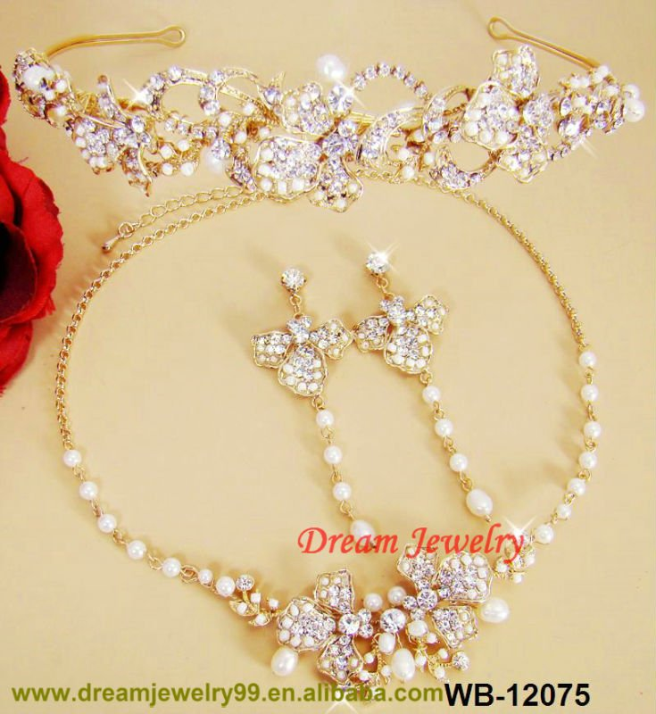hot sale 1 gram gold jewellery handmade three pcs tiaras necklace earrings wedding sets
