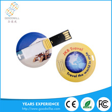 Popular Bulk Cheap Full Capacity Round Usb Driver Custom Credit Card Usb Flash Pen drive with Customized Logo