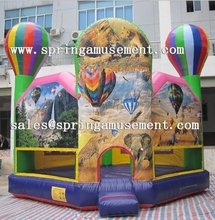 popular fire balloon theme printing and panel castle, inflatable bouncy castle sp-pp053