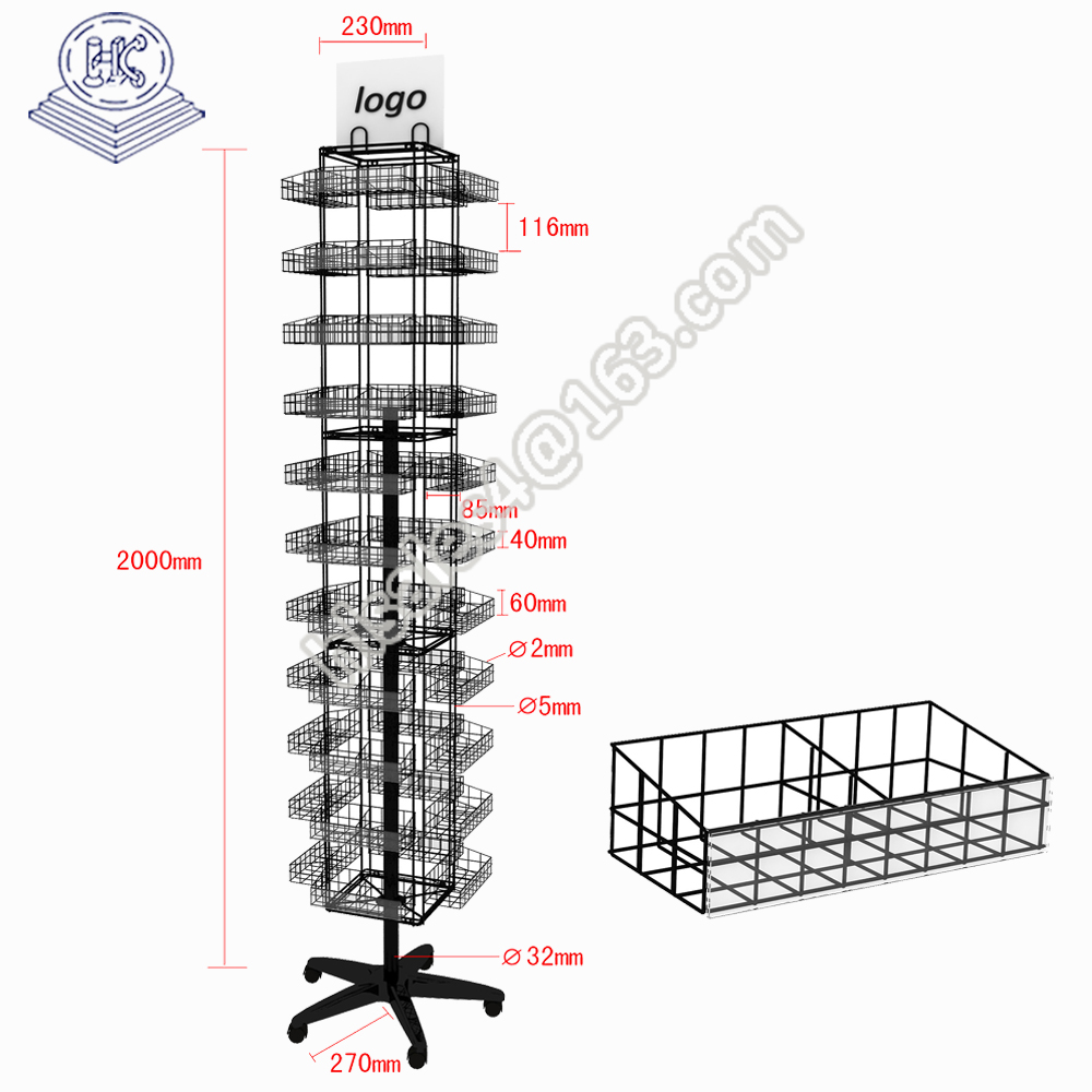wholesale rotating durable bread wire display rack