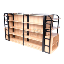 Supermarket MDF Product Display Wood Stands