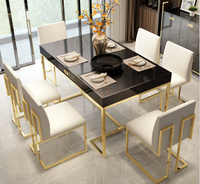 Classic Stainless Steel Frame High Glossy Wood Marble Dining Room Table 6 Chairs Furniture Set