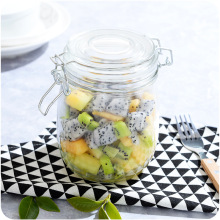 Easy clean clear Glass storage jar locking lid for food candy jam