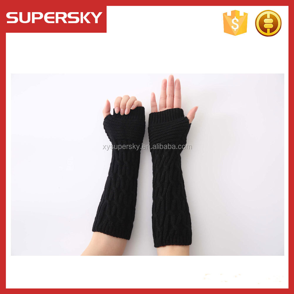 M99 Fingerless Gloves fingerless Mittens Long Wrist Warmers Arm warmers textured grey cable knit women mittens