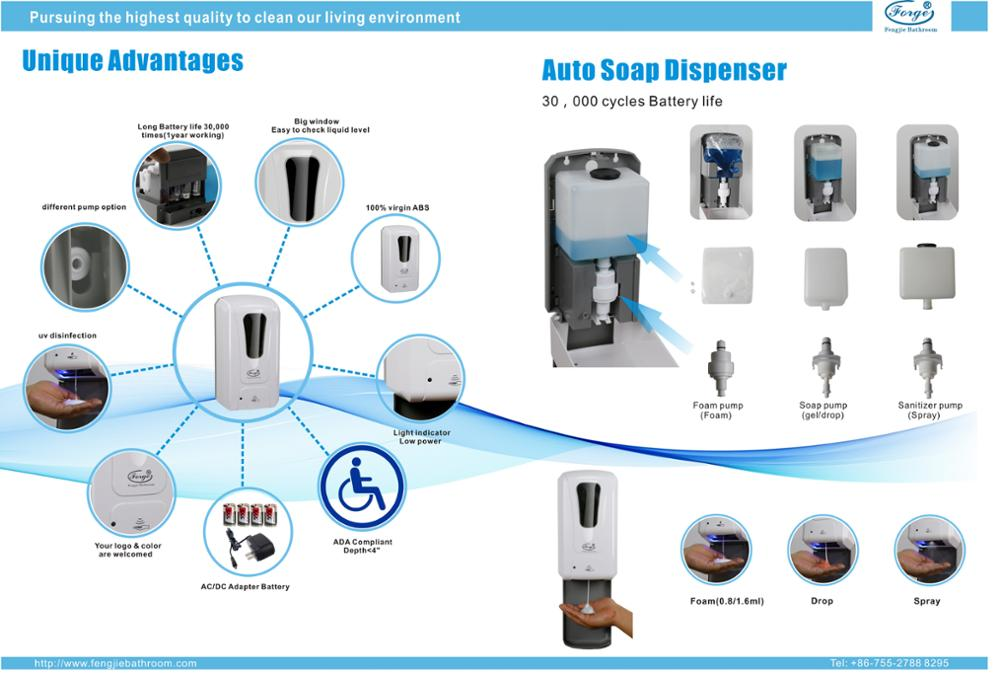 1000ml 1200ml Automatic Sanitizer disinfect Dispenser(Spray) with floor stand and water tray
