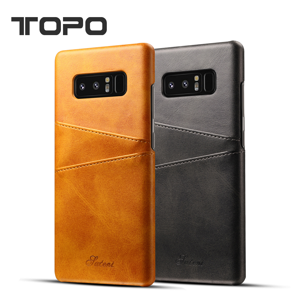 Latest PU two card stolts storage PC leather back cover phone case for Samsung note 8 for iphone X