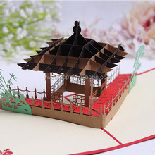 High end Chinese paper-cut style 3d card sculpture creative business gifts