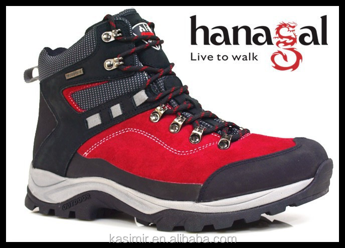 Guangzhou shoe factory fashionable red colour sport hiking shoes for men with cheap price and good design