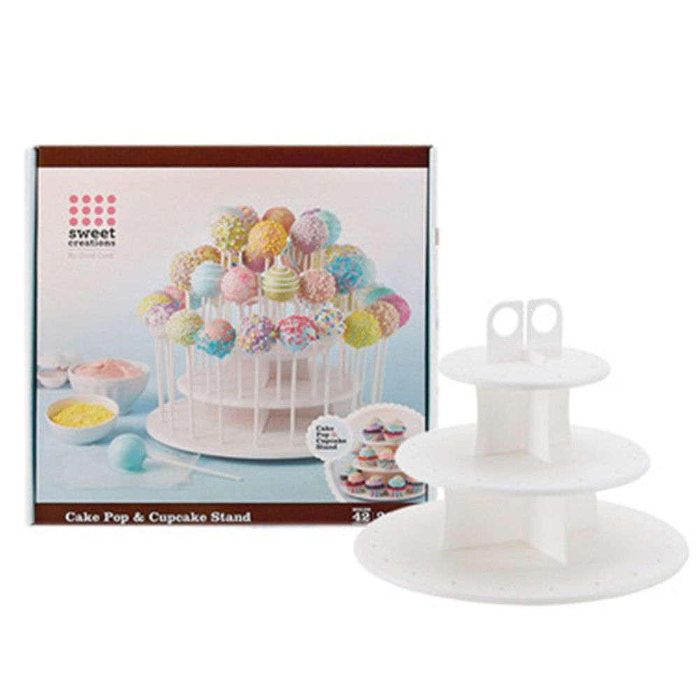 2 in 1 plastic 3 tier round cake pop stand