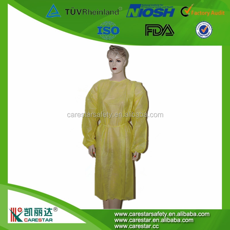 Color Blue Long Sleeve SMS Disposable Non-woven sterilized Knit Cuffs Surgical Gown