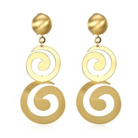 SJKZCE177 Double Spiral Snail Shape Eco-friendly Brass Gold Plated Fashion Indian Style Women Earrings for Party Engagement