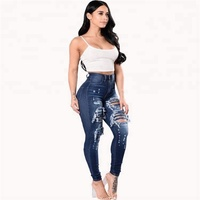 WM-029 Clothing Factory Wholesale dark blue tight super skinny ripped high waist womens damaged denim stretch pants jeans