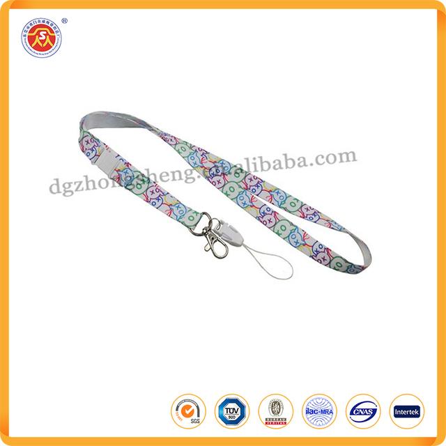 custom logo printing round cord metal clip neck lanyard
