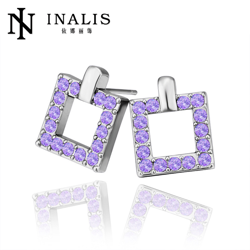 Brilliant square design gold plated earring uncut diamond prices E348