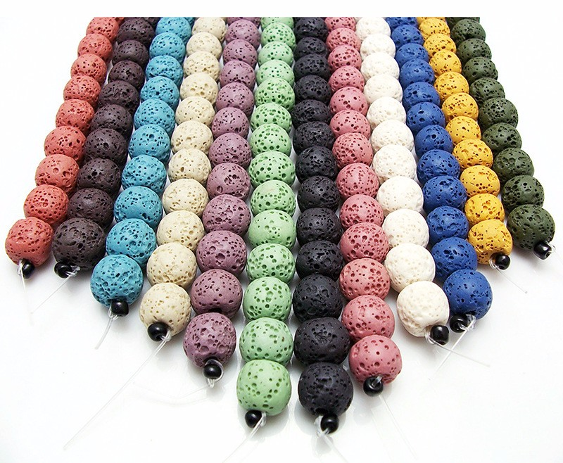 Colorful Natural Lava Stone Beads for essential oil diffuser
