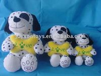 dog shaped animal plush toy Holding Embroideried Bone in different size