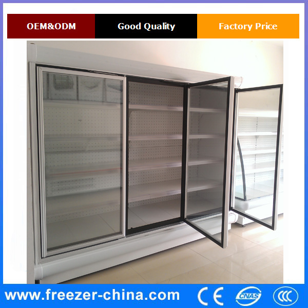 Small display glass doors showcase refrigerator for convenience store