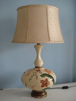 Hand painted flower poly table lamp with fabric shade