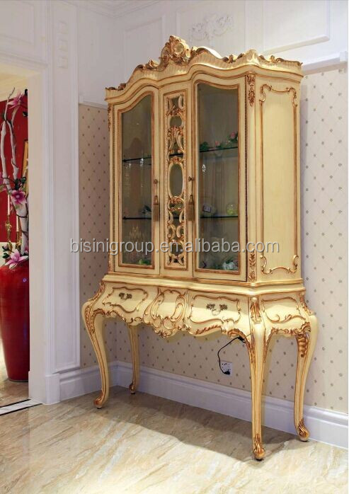 Royal Elegant Golden Vitrine by Handcarved, Antique Style Commode for Villa and Hotel