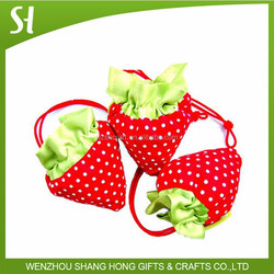strawberry folding shopping bag polyester cheap foldable shopping bag