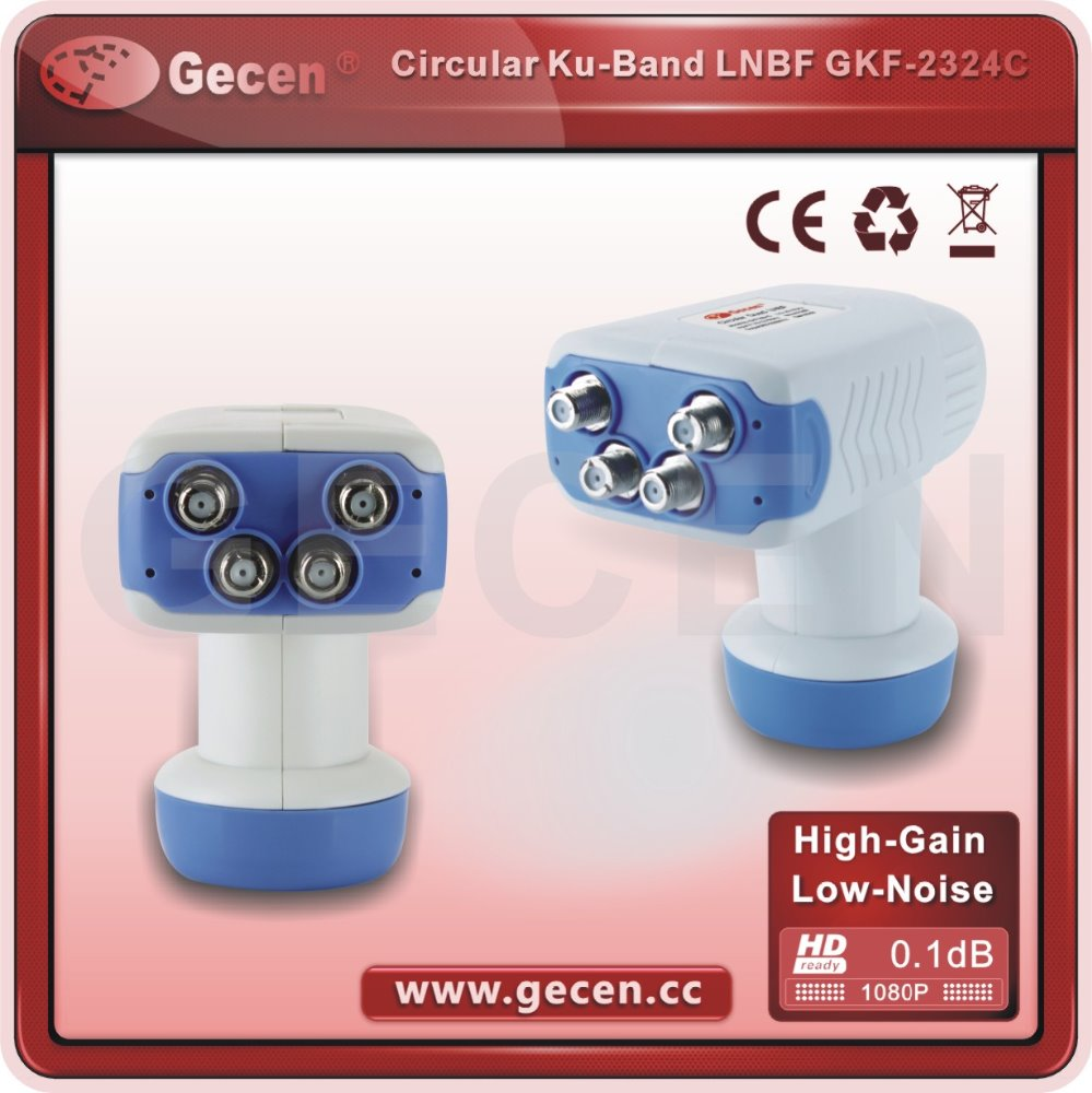 circular quad LNB Ku-Band Dual Polarity Circular Quad LNBF Circular Ku-Band for Analog and Digital reception