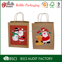 customized cute christmas gift paper bag with different types