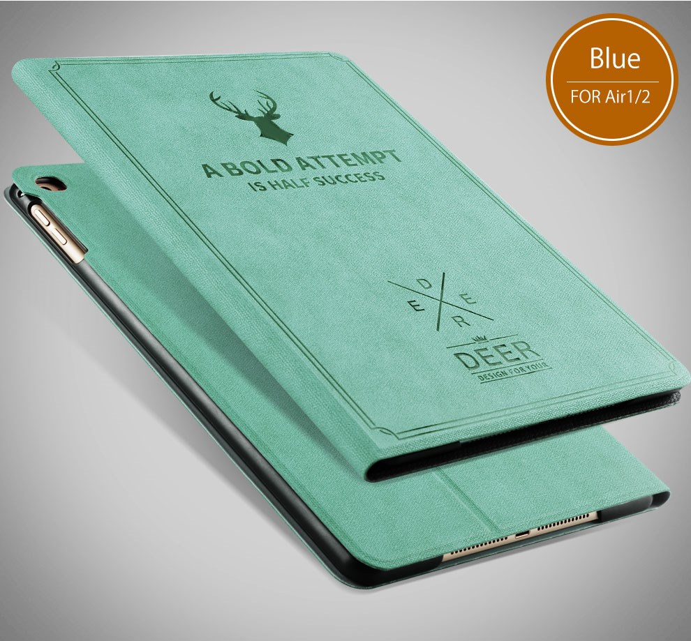 Lightweight sleeping fuction standing pu leather Wild bulk tablet cover for Apple Ipad air12