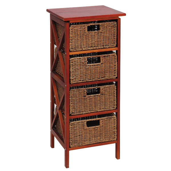 Wood storage cabinet with wicker drawers furniture