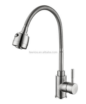 wenzhou feenice supplier 304 stainless steel sink faucet with flexible tube and sprayer