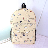 china supplier teenage colors printing drawing backpack for girls